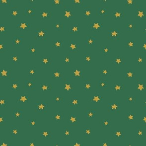Glitter golden stars / on green