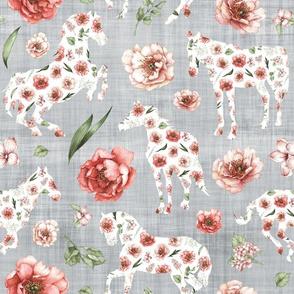 floral horse grey linen