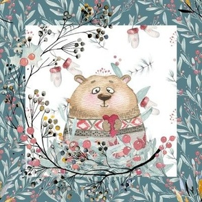 """8"""" x 8"""" TILE BEAR IN SWEATER WHITE TEAL BORDER WINTER FLWRHT"""