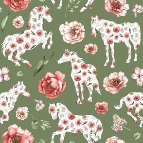 green floral horse