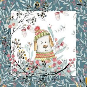 """8"""" x 8"""" TILE DOG  IN SWEATER WHITE TEAL BORDER WINTER FLWRHT"""