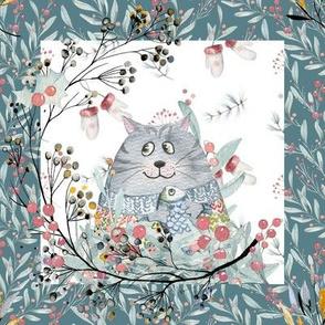 "8"" x 8"" TILE GREY CAT  IN SWEATER WHITE TEAL BORDER WINTER FLWRHT"