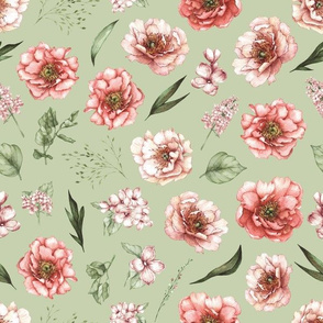 pink floral green