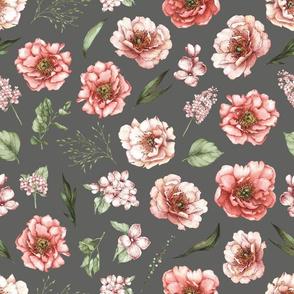 pink floral dark grey