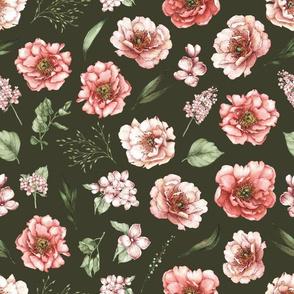 pink floral dark green