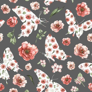 pink floral butterfly grey