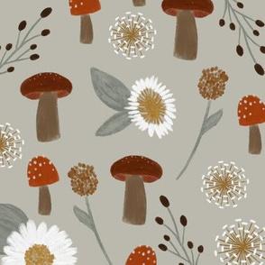 sage mushrooms and dandelions