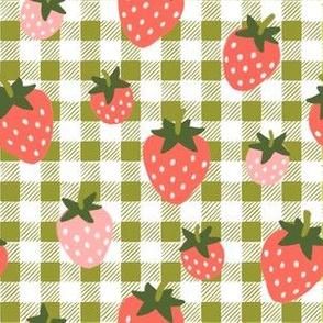 Strawberries on Boho Green Gingham