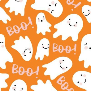 Cute Lil Ghosts - Orange and Pink, Large Scale