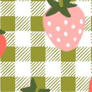 Strawberries on Boho Green Gingham-JUMBO