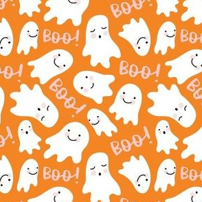Cute Lil Ghosts - Orange and Pink, Medium Scale