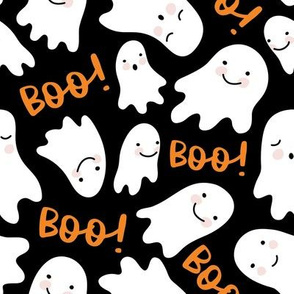 Cute Lil Ghosts - Black and Orange, Large Scale