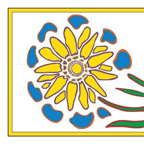 06_Tea Towel Four Flowers_Sunflower only-01