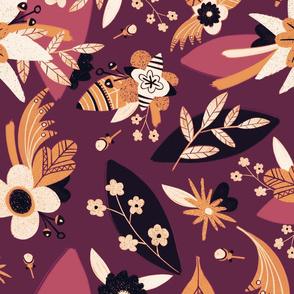 Autumn floral background in orange and brown colors.
