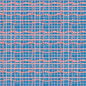 Wiggly squiggly plaid in Ibiza blue an Blush pink with wine spots
