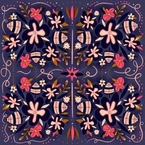 Wall tiles in floral motifs with dots, leaves, twigs, lines.