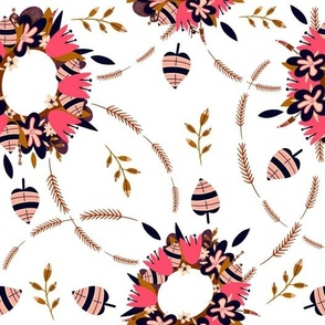 Floral wreaths of flowers, leaves, and spikelets on a white background.