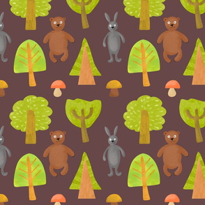 green trees mushrooms and wild animals bear and hare in cartoon style