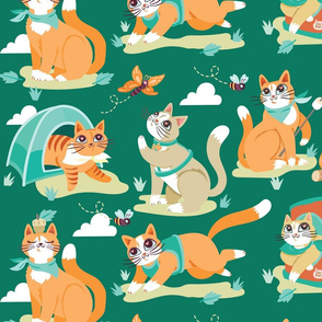Camping Cats in Forest Green
