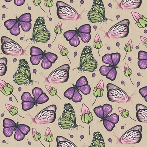 flying butterflies in violet and green