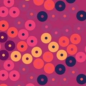 Circle Florals in Maroon - Small Scale
