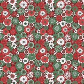 Bessie Retro Floral Christmas Red Green Maroon BG - medium scale