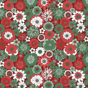 Bessie Retro Floral Christmas Red Green Maroon BG - large scale