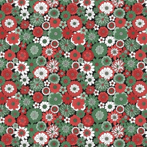 Bessie Retro Floral Christmas Red Green Midnight BG - medium scale