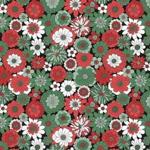 Bessie Retro Floral Christmas Red Green Midnight BG - large scale