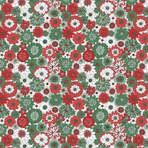 Bessie Retro Floral Christmas Red Green White BG - medium scale