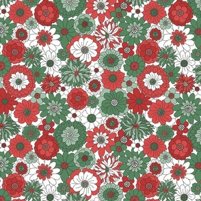 Bessie Retro Floral Christmas Red Green White BG - large scale