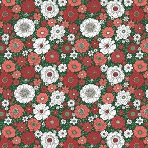 Camilla Retro Floral Christmas Green - medium scale