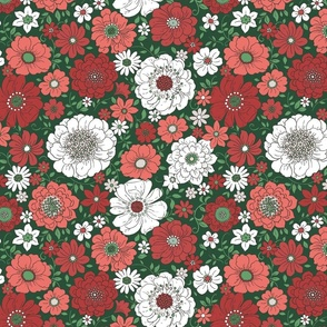 Camilla Retro Floral Christmas Green - large scale