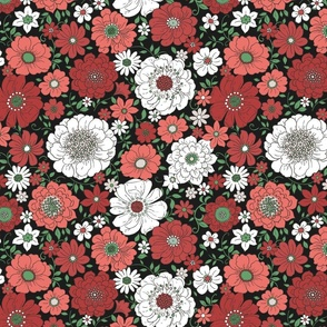 Camilla Retro Floral Christmas Midnight - large scale