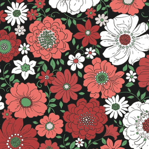 Camilla Retro Floral Christmas Midnight - extra large scale