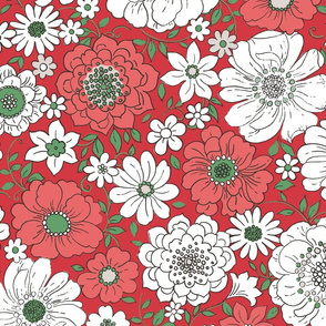 Camilla Retro Floral Christmas Red - extra large scale