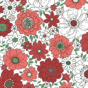 Camilla Retro Floral Christmas White - extra large scale