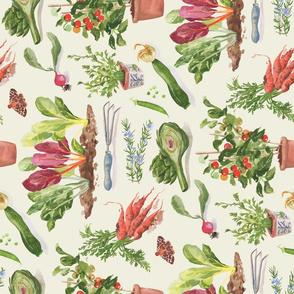 A Painted Vegetable Garden - Tea Towel