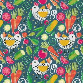 Tiny scale //  Chick and salad from granny's backyard // teal background white spotted geometric chickens yellow orange and green paper cut geo veggies