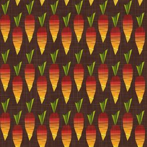 carrots - stylized veggie stripes - carrots fabric