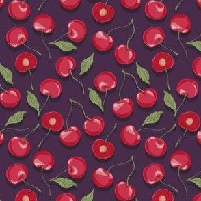cherries love/violet background/stone fruits/