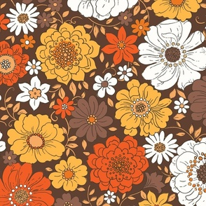 Camilla Retro Fall Floral - extra large scale