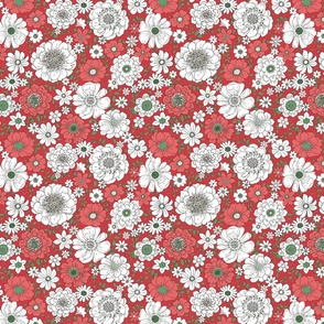 Camilla Retro Floral Christmas - medium scale