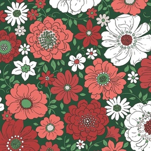 Camilla Retro Floral Christmas Green - extra large scale