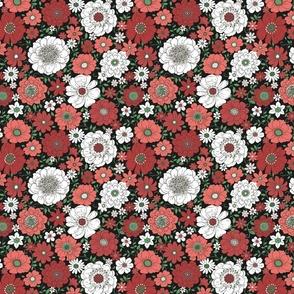 Camilla Retro Floral Christmas Midnight - medium scale