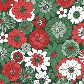 Bessie Retro Floral Christmas Red Green Dark Green BG Rapsberry Pattern Co