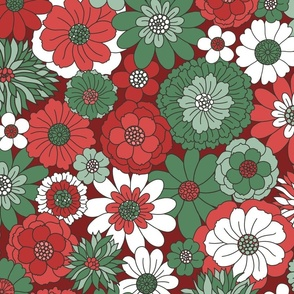Bessie Retro Floral Christmas Red Green Maroon BG - extra large scale