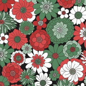 Bessie Retro Floral Christmas Red Green Midnight BG - extra large scale