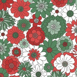 Bessie Retro Floral Christmas Red Green White BG - extra large scale