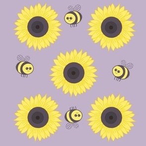 Sunflowers and bees on soft brown